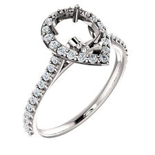 Halo Style 14k White Gold for Pear Diamond Semi Mount Setting Engagement Ring