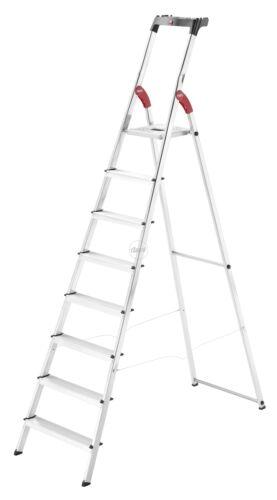 Scala alluminio 8 gradini antiscivolo leggera con vaschetta porta oggetti Hailo