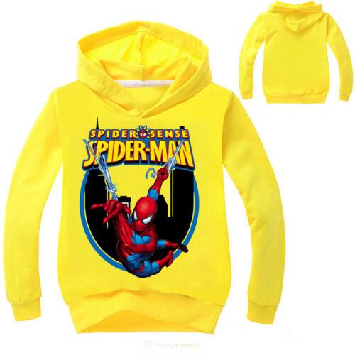 Kids Boys Hoodie Sweatshirt Hooded Jacket Superhero Spiderman Cosplay Costume