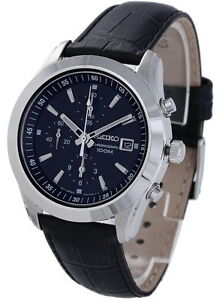 0c0fd9fb4 Image is loading Seiko-Chronograph-100m-Leather-Strap-Men-039-s-