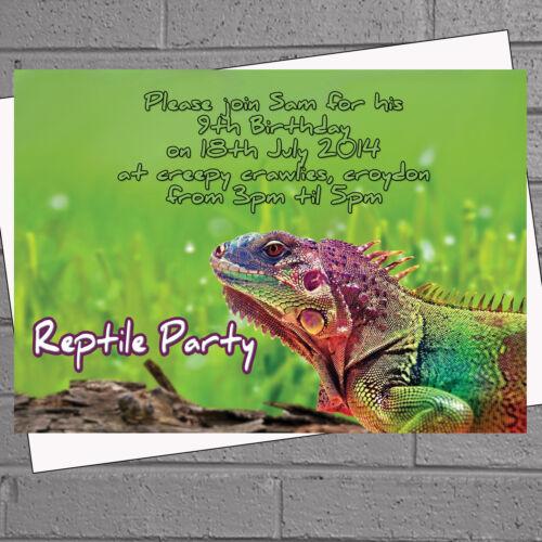 12 x Iguana Reptile Birthday Party Invitations Childrens Kids H0562