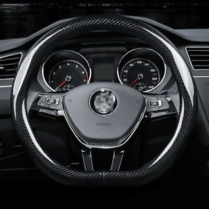 Universal-Size-M-15-034-Steering-Wheel-Cover-D-shape-Carbon-Fiber-Sport-Racing