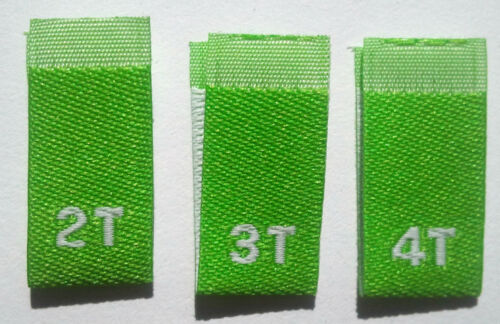 250 pcs LIME GREEN WOVEN TODDLER CLOTHING LABELS SIZE TAGS 2T 4T 3T