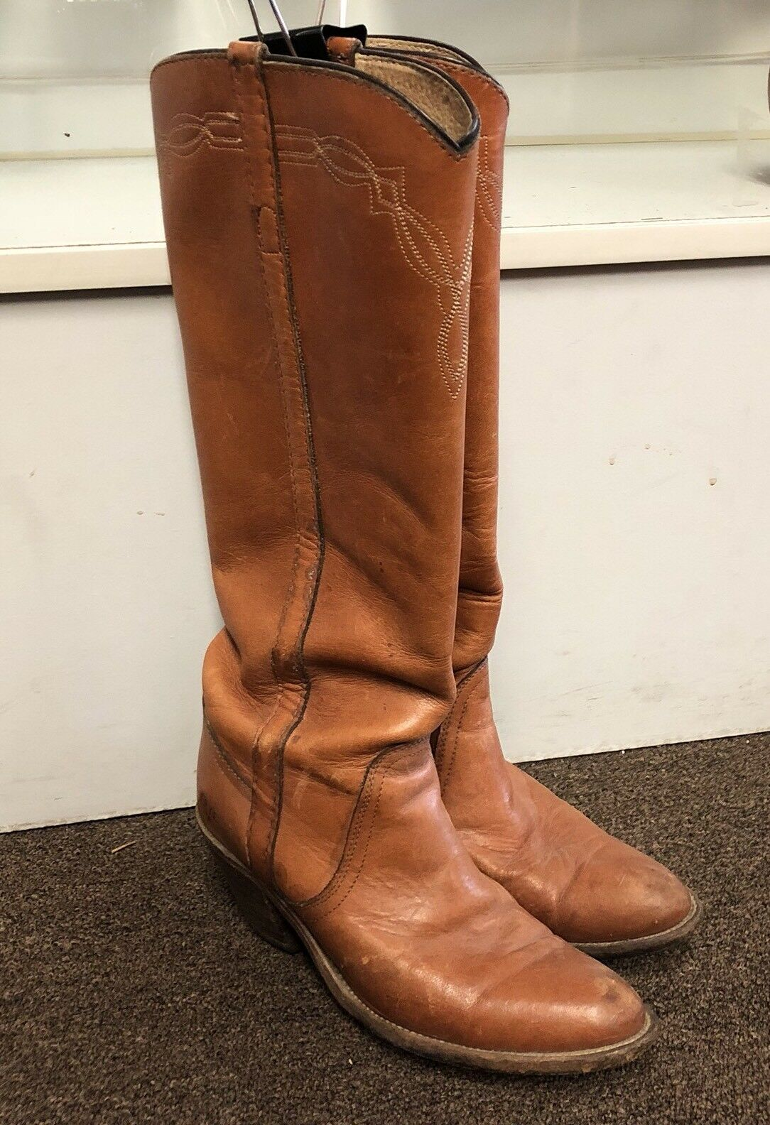Vintage Frye CAMPUS Boots Stacked Heel Tall 7 B made USA