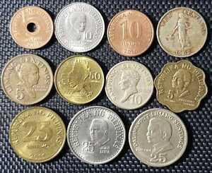 1966-1970 PHILIPPINAS 5,10,25 & 50 Sentimos Coin 11 Pcs (+FREE1 coin) #12153