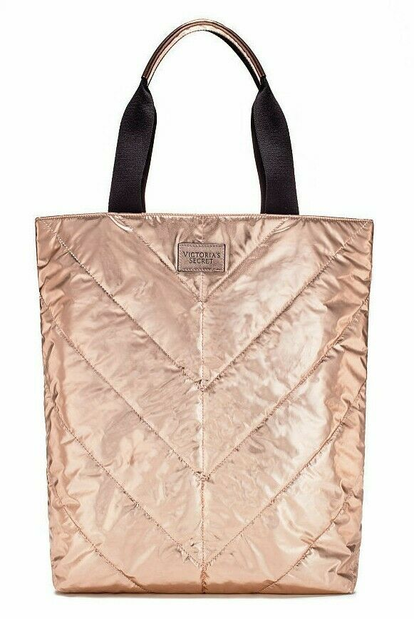 NWT VICTORIA SECRET Rose Gold Metallic Quilted Tote 16x16x4 Limited Edition 2017
