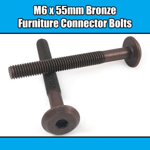 M6 x 55 mm bronze Meubles Connecteur Boulons Joint fixation lit bébé meuble table bureau