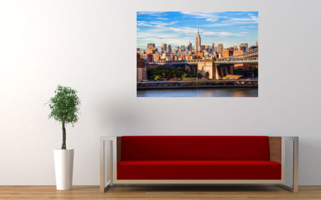 "BROOKLYN BRIDGE MANHATTAN NEW YORK LARGE ART PRINT POSTER WALL 33.1""x23.4"""