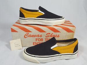 Image Is Loading Vintage Vans SLIP ON Shoes Custom BLACK GOLD