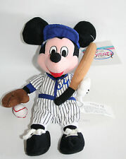 "NEW Disney Store 8"" Baseball Player Mickey Mouse bean bag plush w/ Bat Glove Cap"