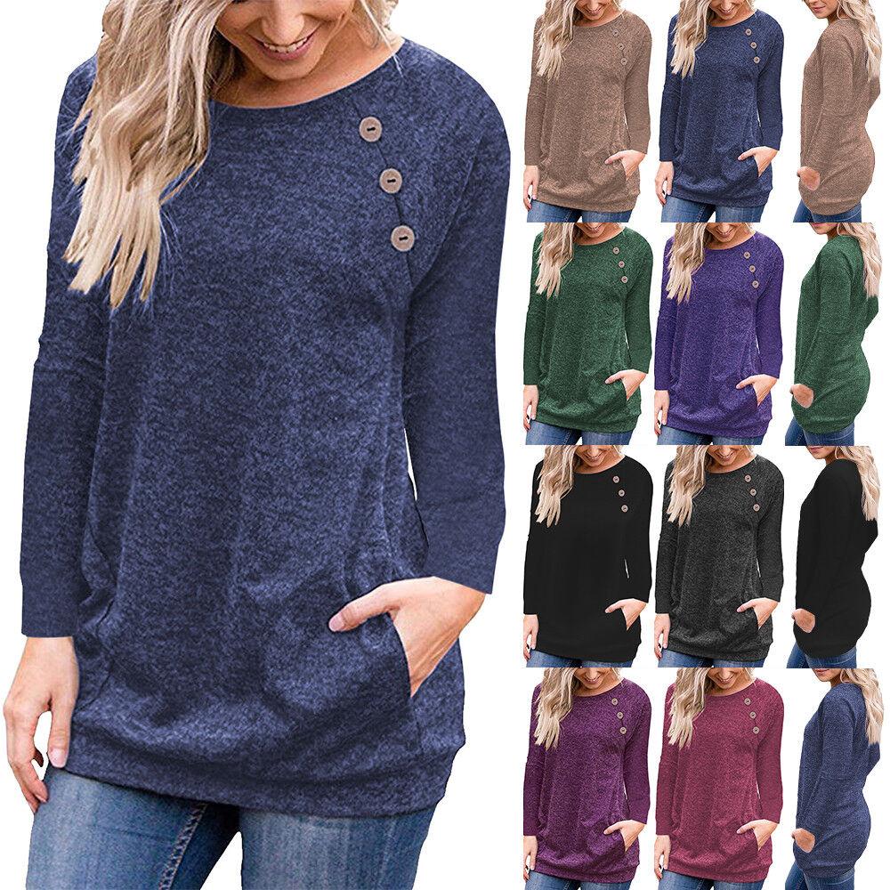 Damen Langarm Pullover Sweatshirt Bluse Longshirt Oberteile Knopf Freizeit Tops