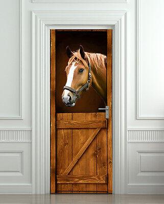 Door Wall or Fridge STICKER Horse Old Stall Barn Western mural decole poster