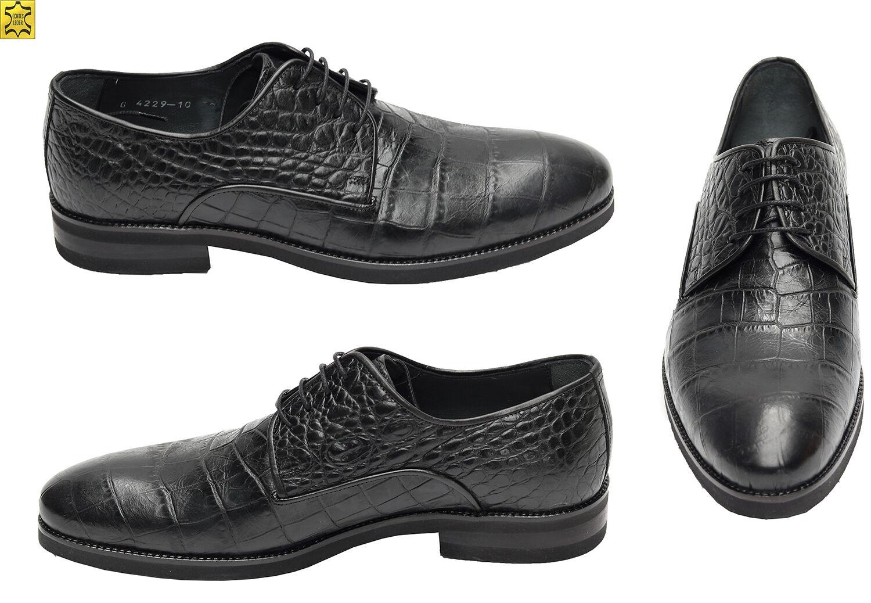 Herren Herren Herren Schuhe Kroko-Optik Muga Gr.42 Schwarz  29b50b