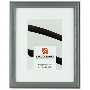 Craig Frames 12x16 Gray Picture Frame White Mat With Opening For