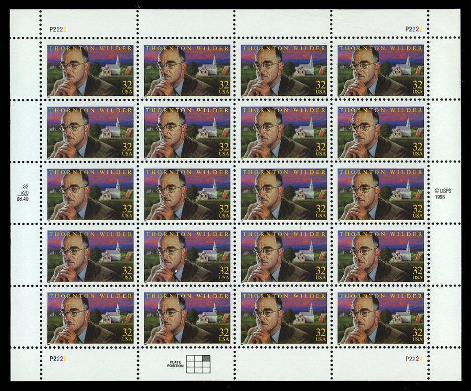 1997 32c Thornton Wilder, Writer, Sheet of 20 Scott 313