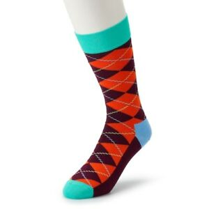 HS-by-Happy-Socks-Men-039-s-Combed-Cotton-Socks-10-13-NWT-RUST-ORANGE-ARGYLE-FUN
