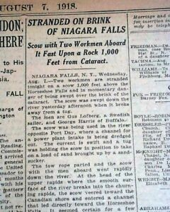 Rare-Old-Iron-NIAGARA-SCOW-Stranded-at-Horseshoe-Niagara-Falls-1918-Newspaper