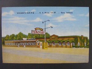 Gary Indiana In Wilsons Bar B Q Barbecue Restaurant Linen Postcard