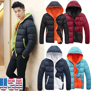 64bcacac4 Men's Slim Casual Warm Jacket Hooded Winter Thick Coat Parka ...