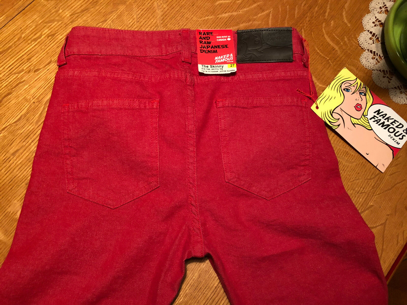 NAKED & FAMOUS THE SKINNY RED STRETCH JEANS 27 X 32 NWT VERY NICE