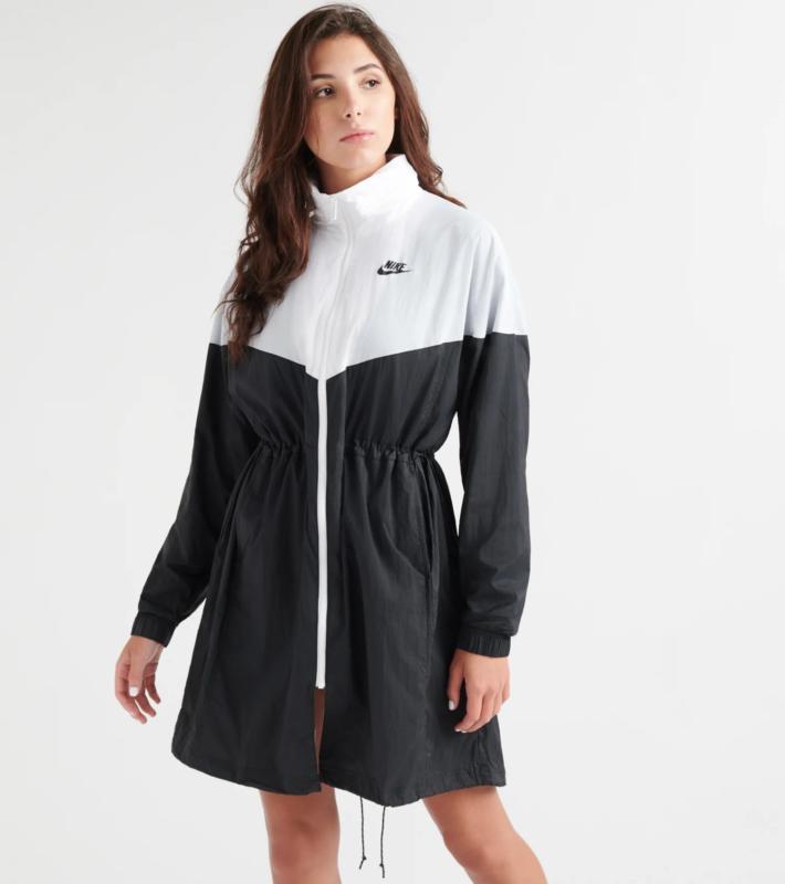Faithful Nike Nsw Lightweight Trench Jacket Black/white Bv3687 New Women's Medium $110 Special Summer Sale