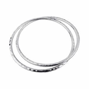 Double-Hammered-Texture-Bangle-Bracelet-925-Sterling-Silver-Interlocking