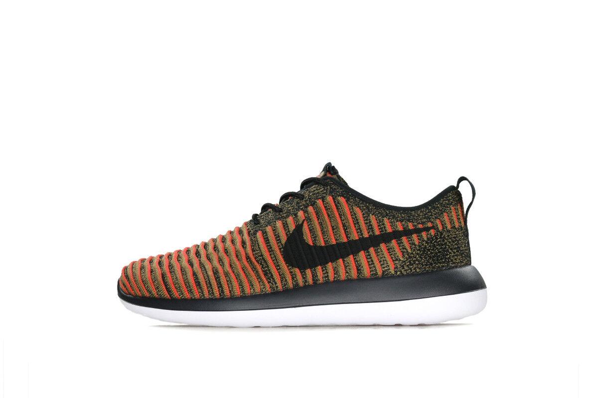 Nike Men's Roshe Two Flyknit Black Max orange 844833-009 Sz 8 - 13