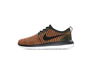 Nike Men's Roshe Two Flyknit Black/Max Orange 844833-009 Sz 8 - 13