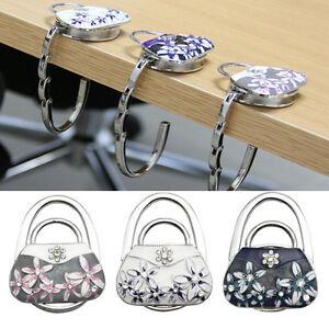 Folding Flower Rhinestone Purse Bag Support Hanger Handbag