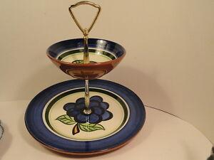 Vintage-Stangl-Pottery-GRAPE-2-Tiered-Chip-039-n-Dip-Mint-Dinnerware