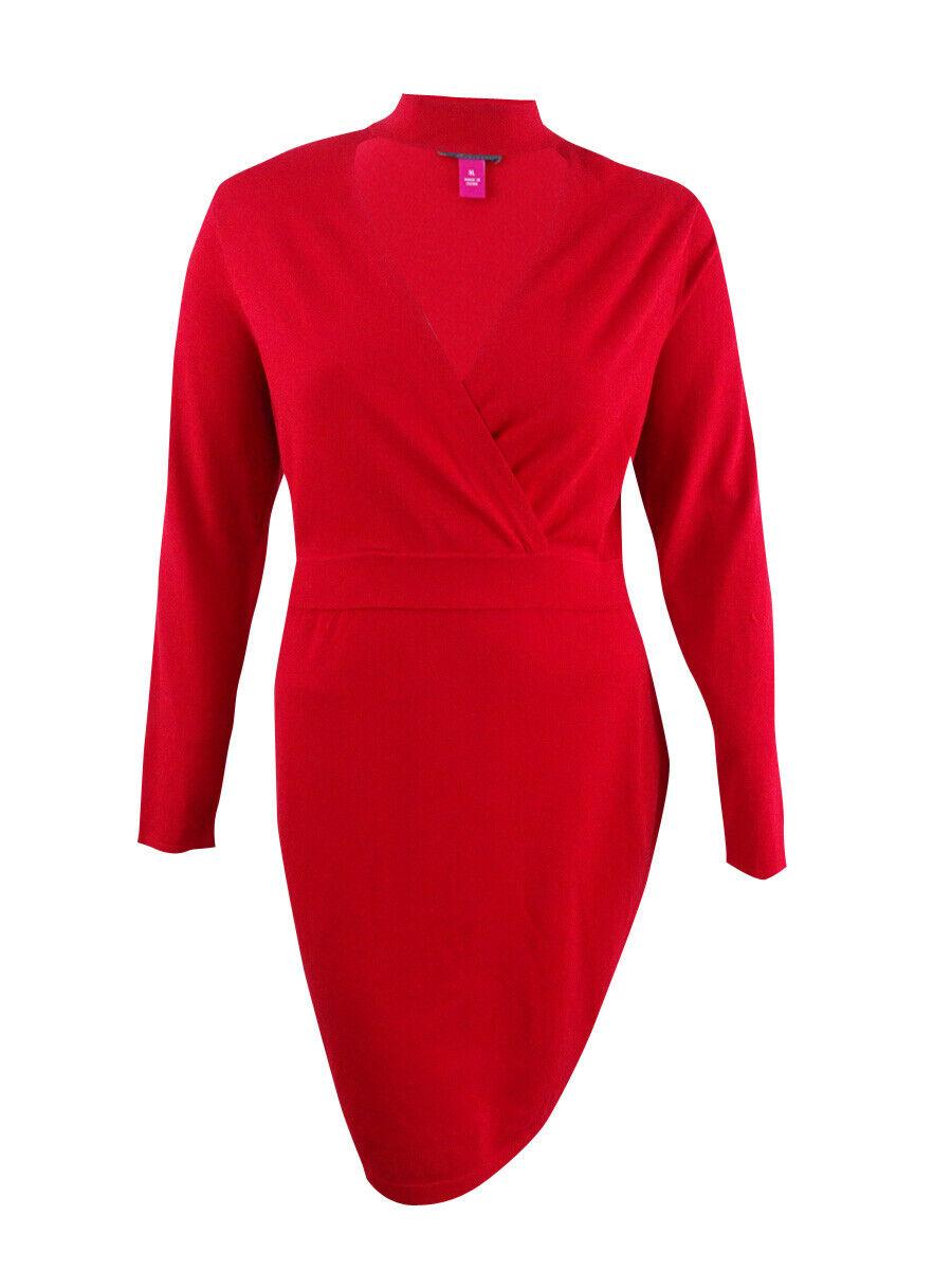 Vince Camuto Women's Choker Faux-Wrap Dress (XL, True Crimson)