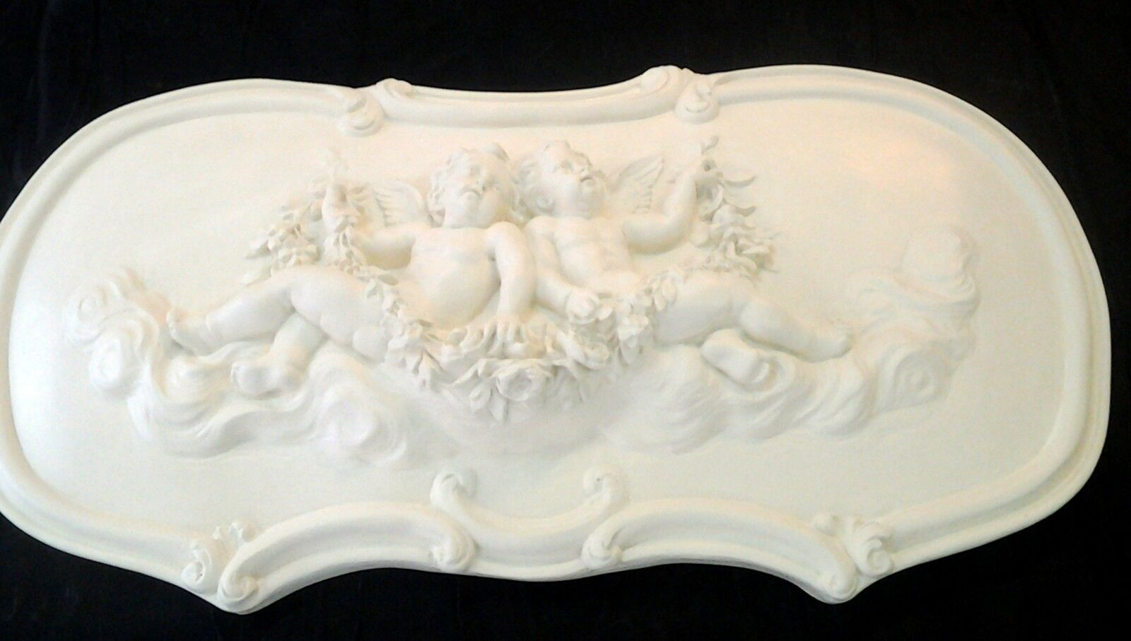 Fronton anges en staff (plâtre renforcé)  69x37cm