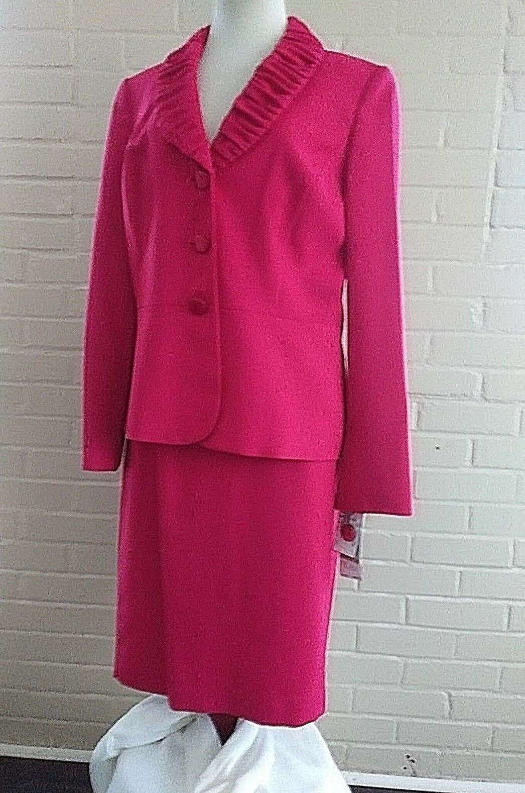 NWT Le Suit Power Suit Wild pink Red Dress 2 Pc Blazer & Skirt Size 12    W12