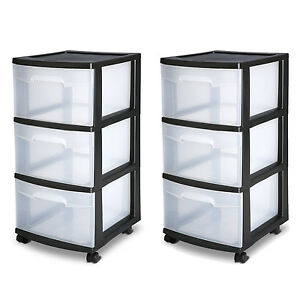 Image Is Loading 3 Drawer Organizer Cart Black Plastic Craft Storage