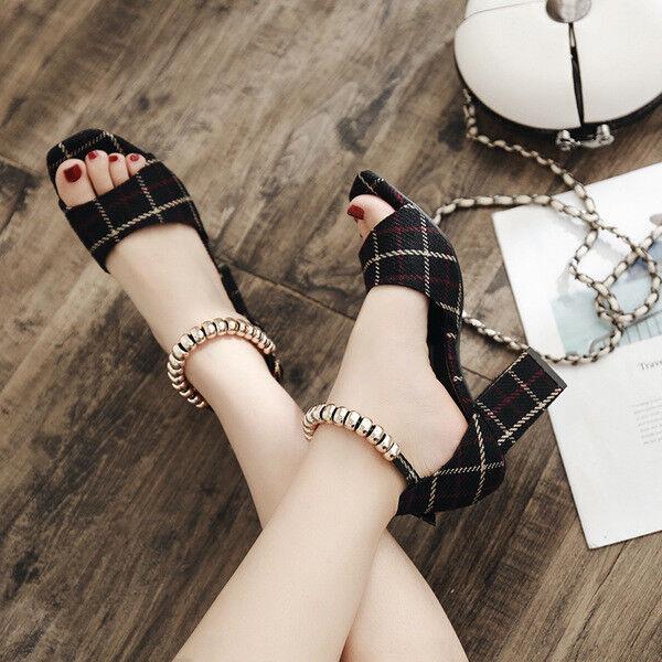 Sandalias de mujer zapatillas zapatillas zapatillas talón cuadrado negro elegantes 7.5 cm cómodo 9779  venta al por mayor barato