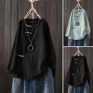 ZANZEA-Femme-100-coton-Casual-Col-Rond-Manche-Longue-Loisir-Shirt-Haut-Plus