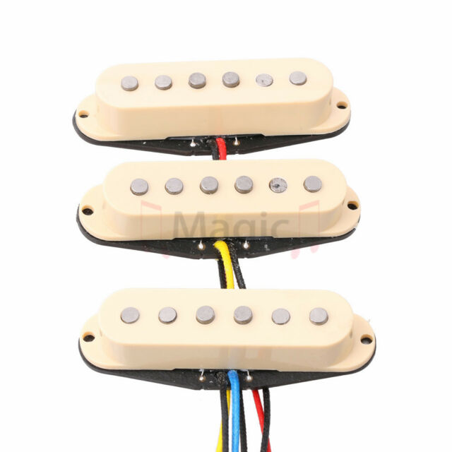 Cream Wilkinson Vintage Tone Alnico 5 Staggered Single Coil Pickups SSS Set for Strat Style Electric Guitar