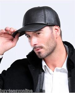 Men-039-s-100-Genuine-Leather-Black-Adjustable-Casual-Sport-Baseball-Golf-Cap-Hat