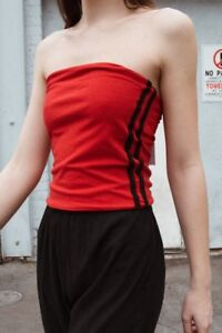 1233fa04ee NEW! brandy melville red black stripe Cotton Crop Jenny Tube top NWT ...