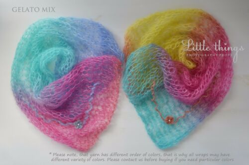 Newborn Baby Knitted Mohair Set Wrap Cocoon and Headband Photo Photography Prop