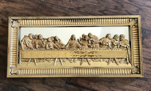 The Last Supper in Frame. Home Interior Gold Mirror Gilded Wall Art - Religious