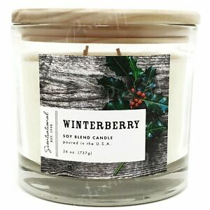 Scentsational-26oz-Natural-Soy-Wax-Large-Candle-100-Cotton-3-Wick-Winterberry