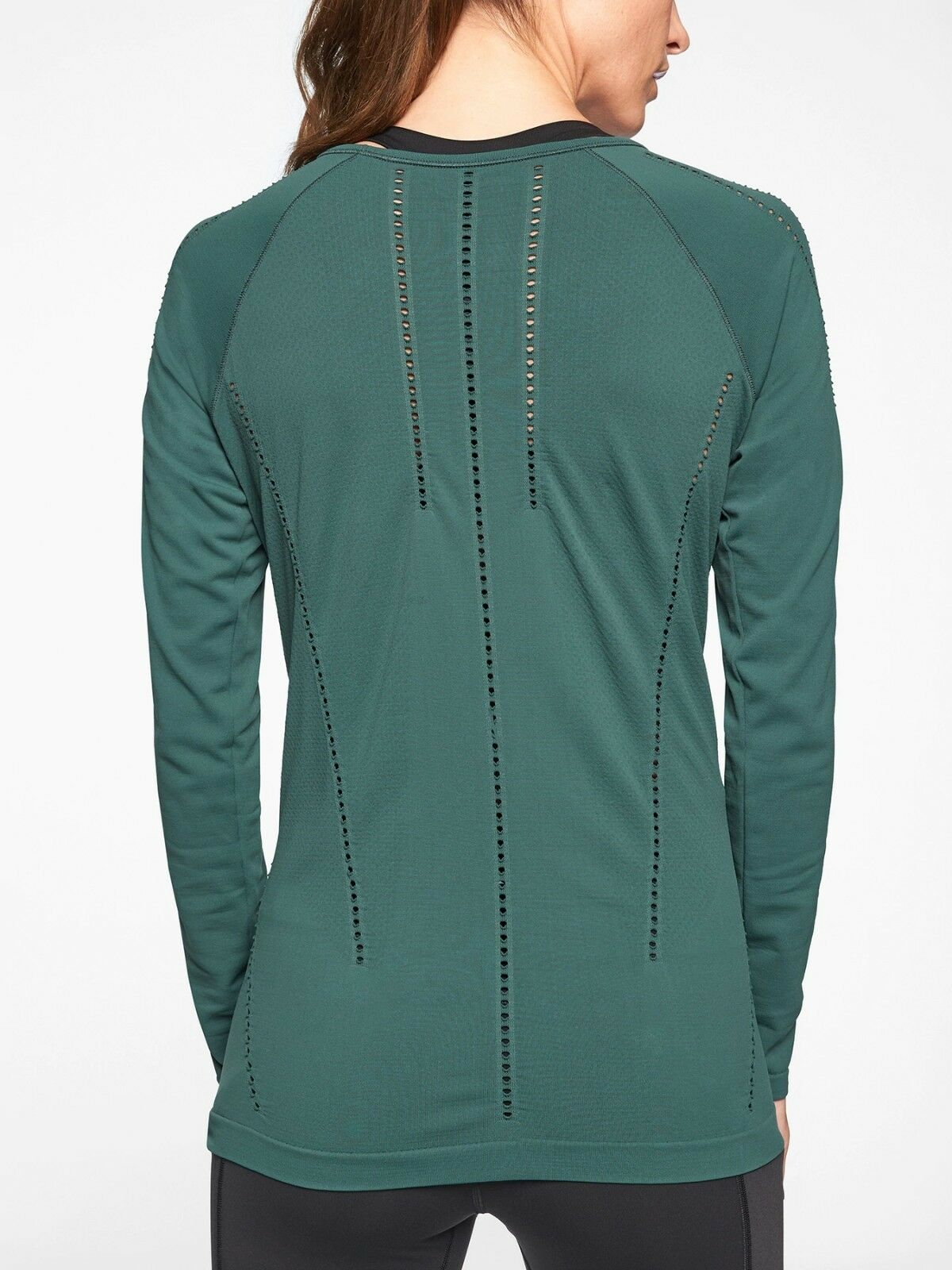NWT Athleta Foothill Long Sleeve Top, Dark Jade SIZE XS     N0117 N0302