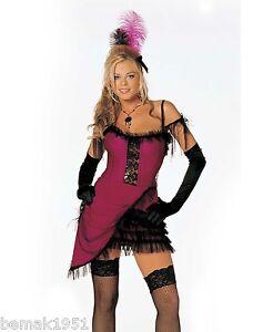 Sexy-Cat-House-Cutie-Costume-Corset-Dress-Sheer-Ruffle-Trim-amp-Feathers-M-L-7413