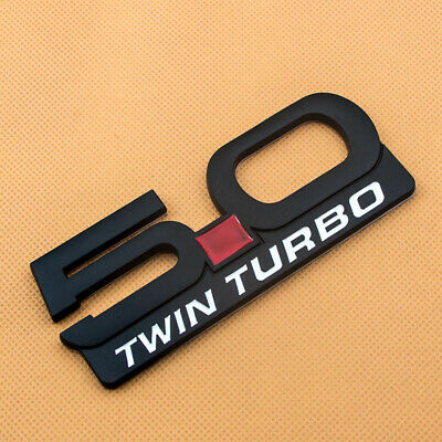 2x New Metal Black 5.0 TWIN TURBO Emblem Fender Badge Decal Sticker Ford Mustang