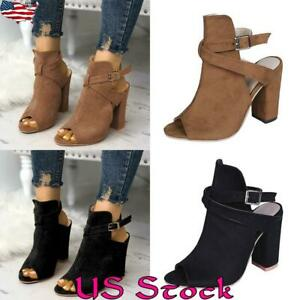 Women-Block-High-Thick-Heels-Chunky-Sandals-Open-Toe-Ankle-Strap-Boots-Shoes-US