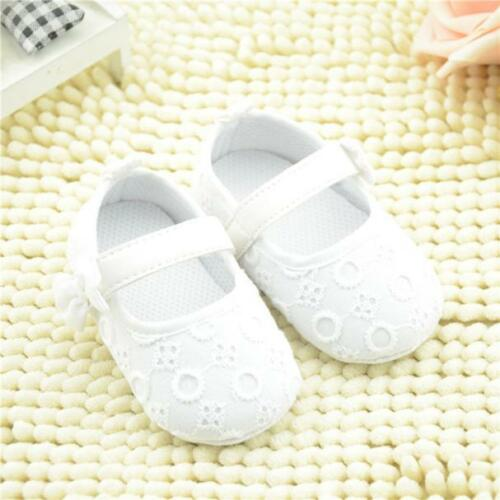 Baby White Embroidered Crib Shoes Bowknot Toddler Soft Sole Casual Flats Shoes