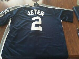 purchase cheap 6dfba fecc5 Details about Majestic Derek Jeter Crosstown Rivalry Blue Yankees Jersey  Large
