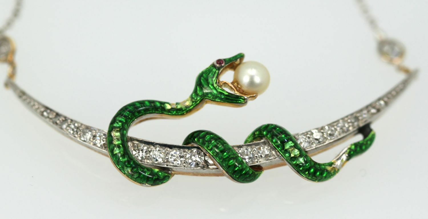 Antique Diamond Crescent Enamel Snake with Pearl on Diamond Chain