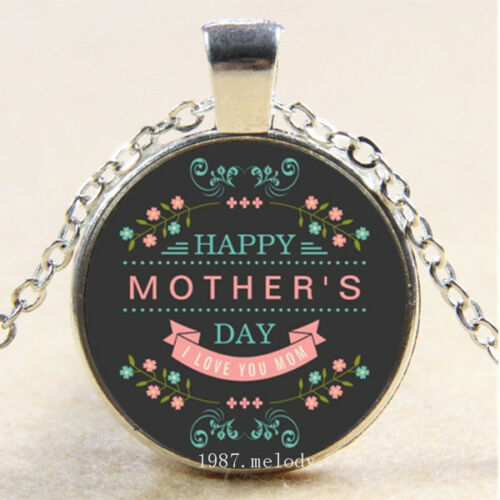 Photo Cabochon Glass Silver Chain Pendant Necklace(Celebrate Mother/'s Day